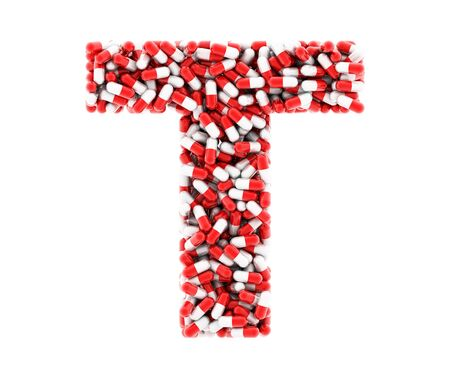 The letter T of the medications on a white background.