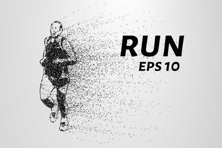 Runner of the particles. The man runs and the wind out of him pulling out pieces in the shape of a circle. Vector illustration.