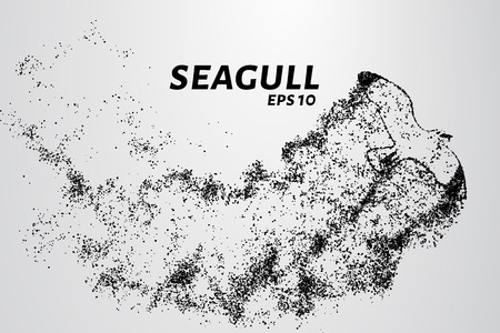 Seagull of the particles. Seagull consists of small circles and dots. Vector illustration