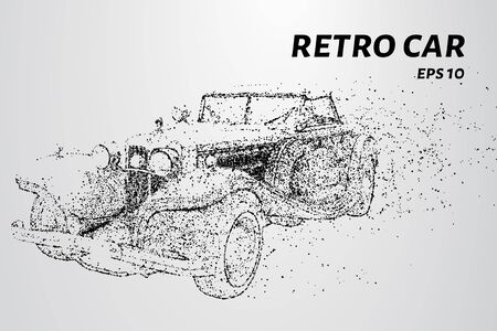 Illustration for Retro car consists of dots and circles. Old car blows the wind particles. Vector illustration - Royalty Free Image