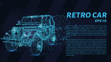 Illustration for Retro car consists of dots and circles. Old car blows the wind particles. Vector illustration. - Royalty Free Image