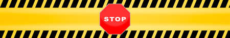 Photo for stop sign template with yellow caution police line background - Royalty Free Image