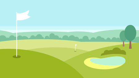 Golf landscape with a lake, forest and green fields