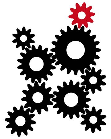 Black gears with red leader for teamwork symbol.