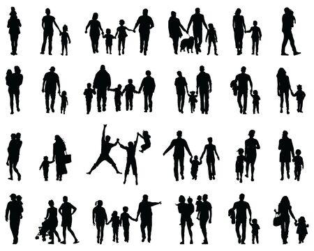 Illustration pour Black silhouettes of families in a walk on a white background - image libre de droit