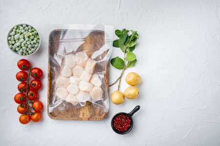 Photo pour Frozen meat scallops in vacuum package, flat lay, on white textured background with space for text - image libre de droit
