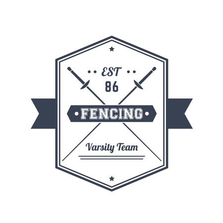 Fencing team vintage emblem, logo, badge, sign with crossed foils, over white, illustration