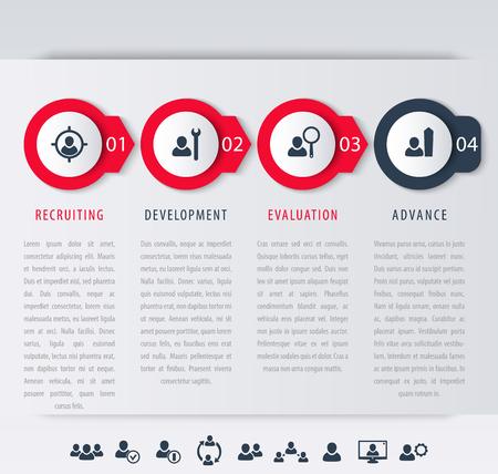 Illustration pour Staff, employee development steps, infographic elements, icons, timeline, vector illustration, eps10, easy to edit - image libre de droit
