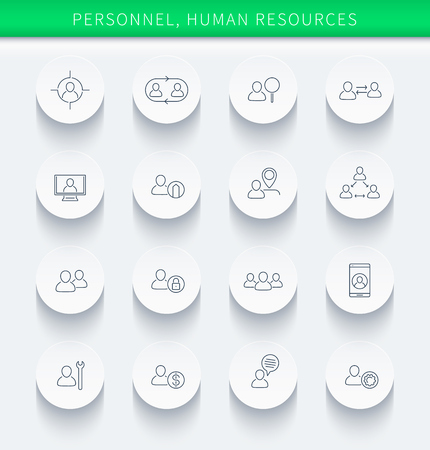 Illustration pour Personnel, Human resources, HR, staff, thin linear round icons, vector illustration, eps10, easy to edit - image libre de droit