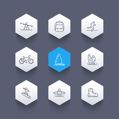 Travel, adventure, surfing, kayaking trip line icons, hexagon set, vector illustration