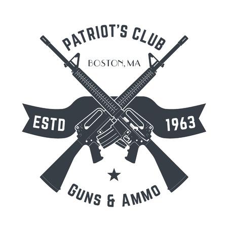 Ilustración de Patriots club vintage logo with automatic guns, vintage gun shop sign with assault rifles, gun store emblem isolated on white, vector - Imagen libre de derechos