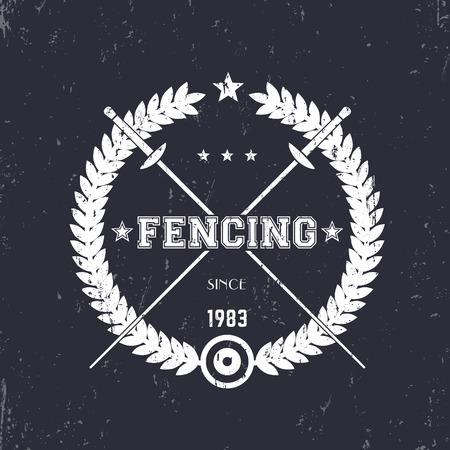 Fencing vintage emblem, badge, logo with crossed fencing foils, vector illustration