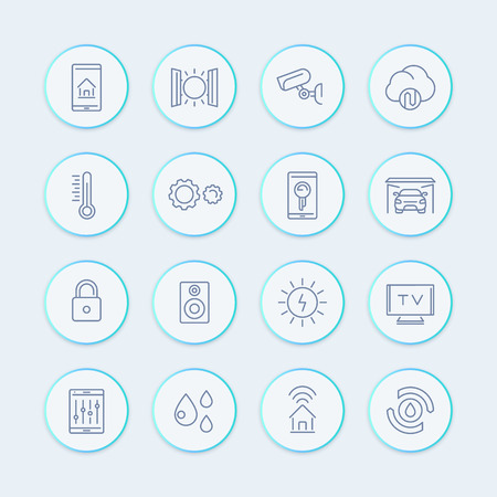 Illustration pour smart house technology system line icons, home automation control system, smart house round pictograms, vector illustration - image libre de droit