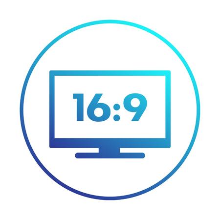 widescreen tv icon in circle, aspect ratio 16:9, vector illustration