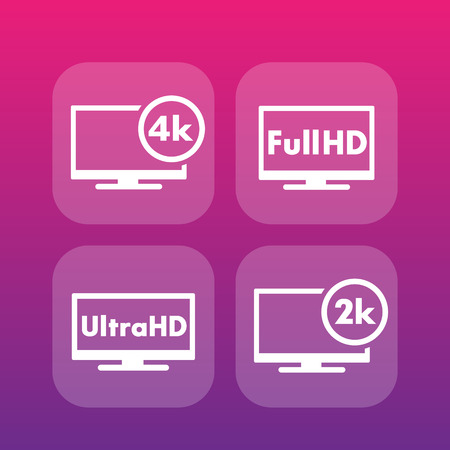 High Definition icons, Full HD, Ultra HD, 2k, 4k video
