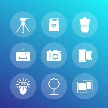 photo equipment icons set, camera, tripod, memory card, film, lens, softbox, printer, vector illustration
