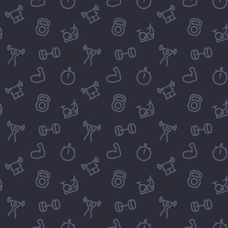 Ilustración de fitness, gym pattern, dark seamless background with line icons - Imagen libre de derechos