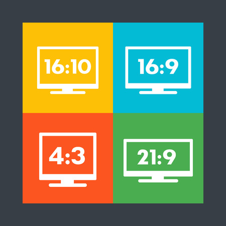 Aspect ratio icons, 16:9, 16:10, 4:3, 21:9, widescreen and standard monitors, tv