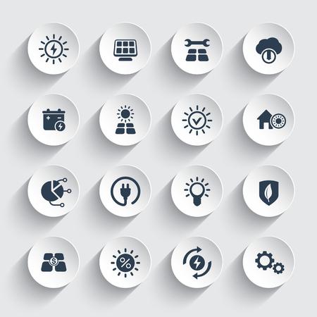 Ilustración de Solar energy, sun powered alternative energetic icons set. - Imagen libre de derechos