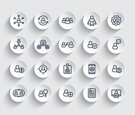 Illustration pour Human resources and personnel management, HR, staff rotation, coaching, hiring line icons set. - image libre de droit