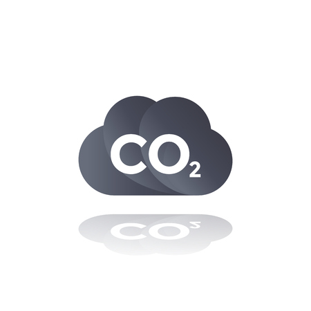 Illustration pour co2 emissions, carbon dioxide cloud icon - image libre de droit