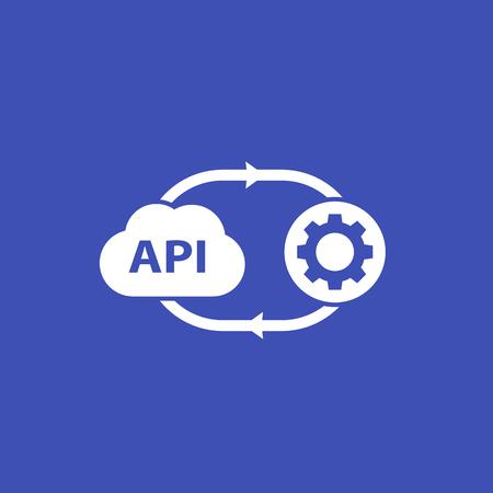 Illustration pour API, application programming interface, cloud software icon - image libre de droit
