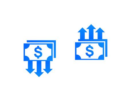 Ilustración de cost reduction and growth, money, finance vector icons - Imagen libre de derechos