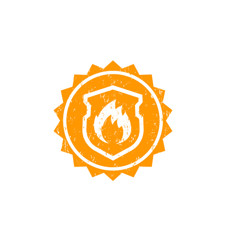 Illustration pour Fire protection vector badge with shield and flame - image libre de droit