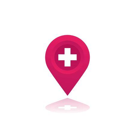 Illustration pour Hospital vector map mark - image libre de droit