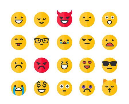 Illustration for Emoticons, emoji vector icons set - Royalty Free Image