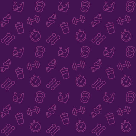 Illustration for fitness pattern, seamless background with line gym icons - Royalty Free Image