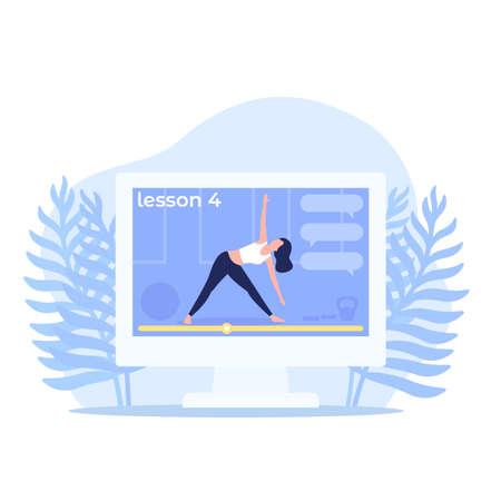 Illustration pour online yoga class, vector illustration - image libre de droit