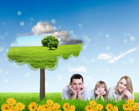 Photo for Collage with children and parents on green grass and under blue sky - Royalty Free Image
