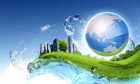 Photo pour Picture of green planet as symbol of environmental concept - image libre de droit
