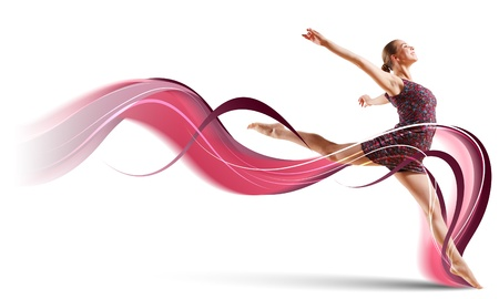 Girl dancing in a color dress with a gray background  Collage