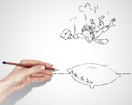 Black and white drawing about risk and dangers in business