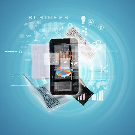 Photo for Modern technology illustration with computer and mobile phone - Royalty Free Image