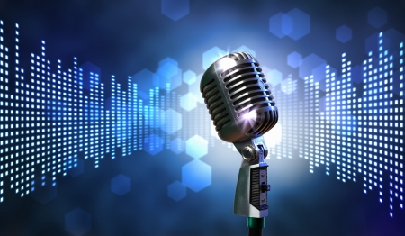 Photo for Single retro microphone against colourful background with lights - Royalty Free Image