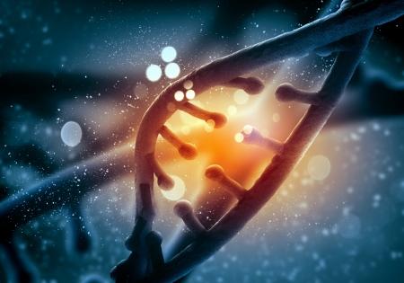 Foto de DNA molecule is located in front of a colored background  abstract collage - Imagen libre de derechos