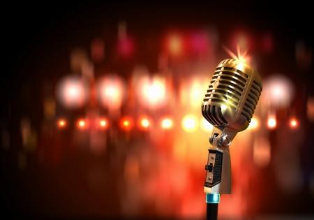 Photo pour Single retro microphone against colourful background with lights - image libre de droit