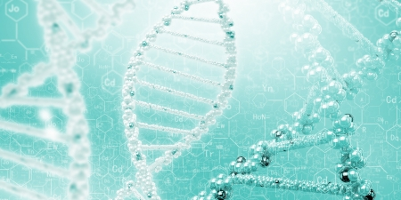 DNA molecule is located in front of a colored background  abstract collage