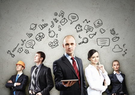 Photo pour Image of young businesspeople team  Collage background - image libre de droit