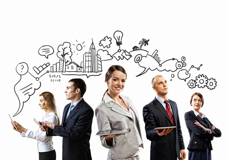 Photo for Image of young businesspeople team  Collage background - Royalty Free Image