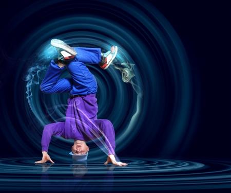 Modern style dancer posing against dark background with light effects  Illustration