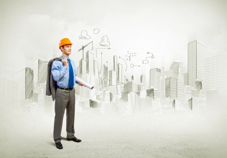 Photo for Image of man engineer in helmet with drafts  Construction concept - Royalty Free Image