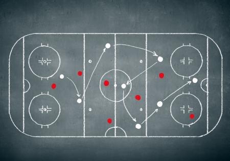 Photo pour Close up image of hand drawn hockey tactic plan - image libre de droit