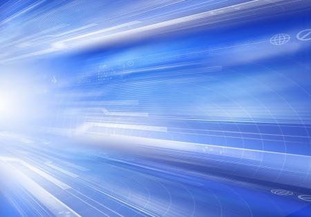 Digital blue background image with technology symbols
