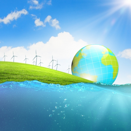 Photo pour Image of earth planet floating in water  Global warming - image libre de droit