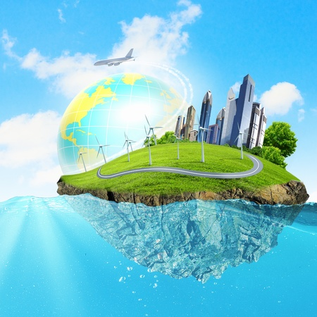 Image of earth planet floating in water  Global warming