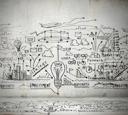 Business ideas sketch drawn on light wall